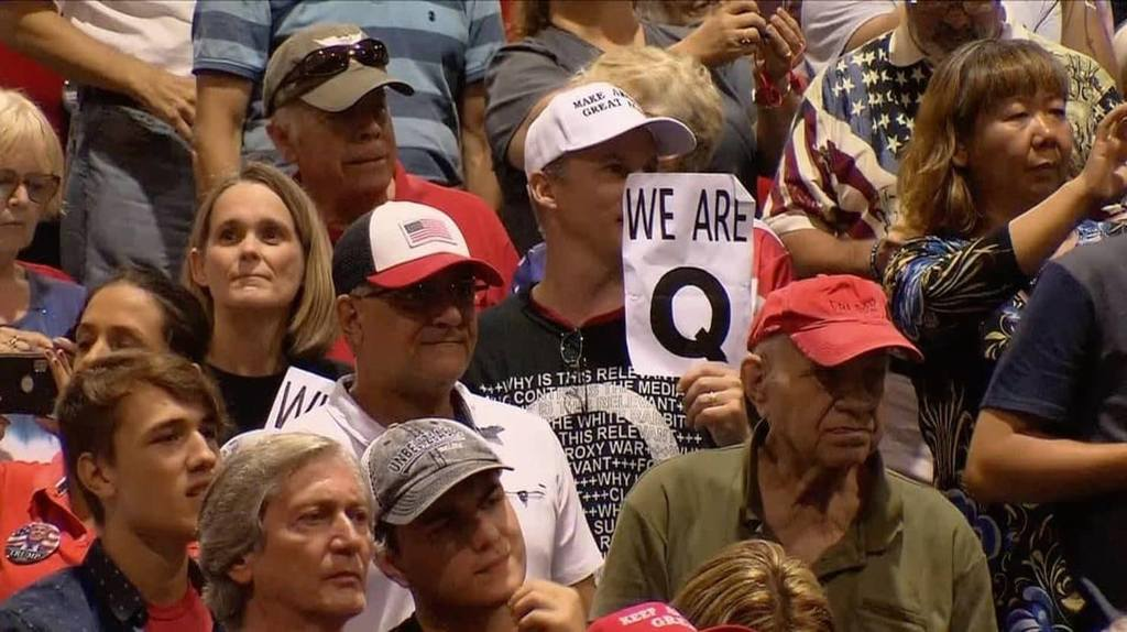 Trump facts mean nothing to Qanon Crowd at rally.